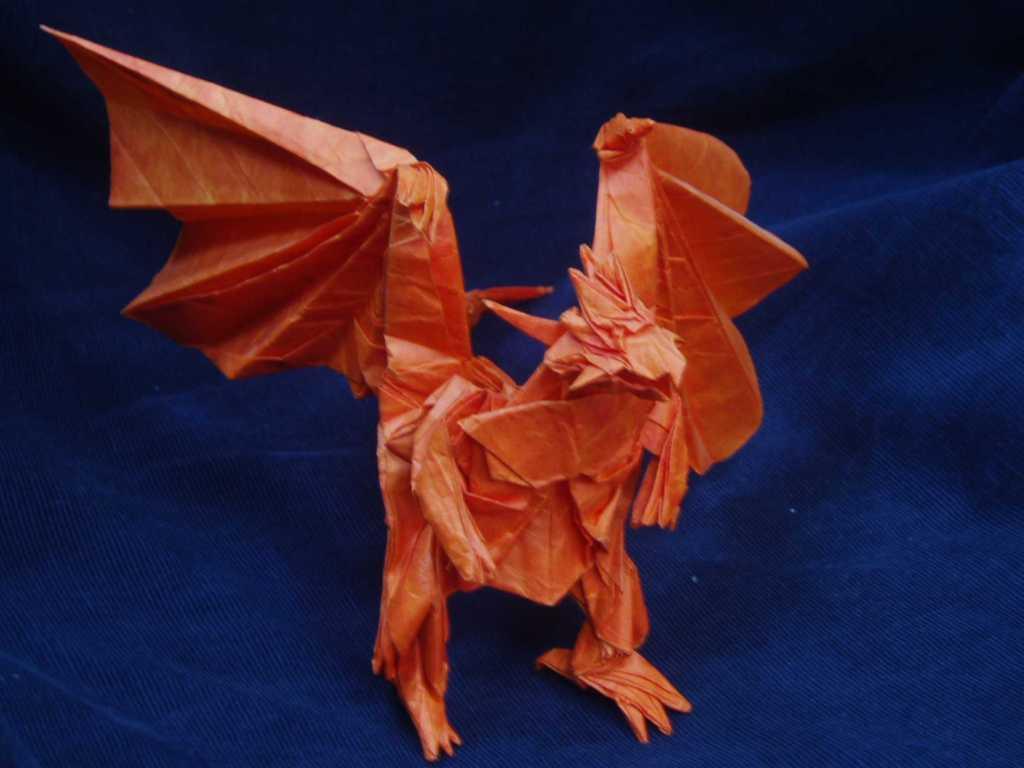 Origami Divine Dragon Bahamut http   www origadi com satoshi kamiya    Origami Divine Dragon